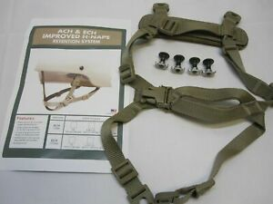 IMPROVED 4 POINT CHIN STRAP COYOTE/TAN H-NAPE ACH HELMET RETENTION SYSTEM