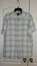 Haggar Washable Linen Mens Short Sleeve Shirt Top Green & White Plaid XXL Used