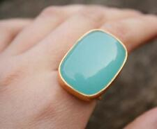 Aqua Chalcedony Gold Plated Ring 925 Sterling Silver Ring All Size CK-73