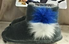 NWT Cuddl Duds Gray Velvet House Booties, Pom Poms, Fur Lined, Women's Small 5/6