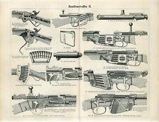 1895 OLD WEAPONS GUNS RIFLES REMINGTON MAUSER Antique Engraving Print