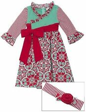 NWT Rare Editions Counting Daisies Holiday Damask Dress and Headband (sz. 6)
