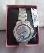 BRAND NEW JUICY COUTURE SILVER BAND STUDDED WATCH TIMEPIECE MSRP $250.00