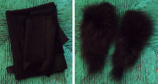 Remnants, Scraps & a Piece of Black Mellow LEATHER + Dark Gray/Brownish Fox? Fur