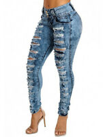 Plus Size Women's Sexy High Waist Ripped Skinny Jeans Denim Jeggings Slim Pants