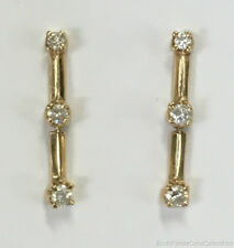"Estate Jewelry Keepsake 0.24 Ctw Diamond Drop Earrings 14K Yellow Gold 3/4"" Long"