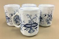 "arnart blue onion coffee mugs cups vintage 1986 4"" tall 8 oz.'s (set of 4)"