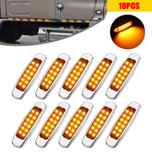 10 x 12 LED Side Marker Amber Clearance Lights Indicator for Heavy truck Trailer
