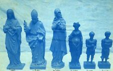 France Religious Sculptures Old Cyanotype Photo 1870