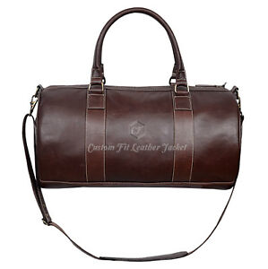 Holdall New Stylish 9098 Brown Weekend Duffel Travel Gym 100 % Real Leather Bag