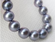 """20""""10-11mm natural south sea silver grey pearl necklace 14k"""