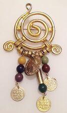 broche vintage couleur or déco ronde pampilles perles couleur pièces 370