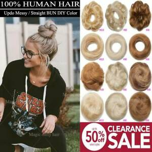 AAA Curly Messy Bun Hair Piece Scrunchie Updo Real Clip in Human Hair Extensions