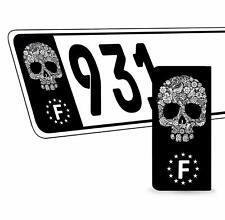 2 x Vinyle Plaque D'Immatriculation Adhésif Crâne Européen Badge France QV 30