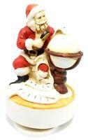 Vintage 1986 Santa Claus Figurine Revolving Music Box Checking His List