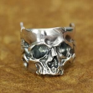 Head Open Twisted Skull Ring 925 Sterling Silver Mens Biker Punk Ring TA186B