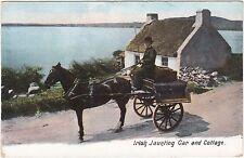 Ireland Irish Horse Drawn Jaunting Car And Lakeside Cottage Postcard
