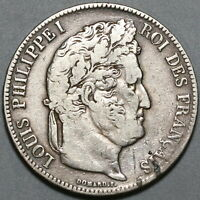 1840-K France 5 Francs VF Louis Philippe I Silver Bordeaux Crown Coin (19111508R