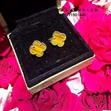 Boucles d`Oreilles Clous Puce Lucky Trèfle Doré Acier Inox Yeux Tigre 13mm TRB1