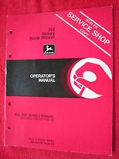 Vintage Original John Deere 260 Rotary Snow Blower Operators Manual