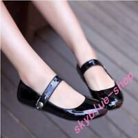 Womens Sweet Flats Solid Shoes Anke Strap 4 Colors Plus A+ Patent Leather Ballet