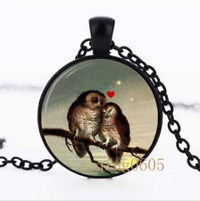 Owl Mother's Gift photo Glass Dome black Chain Pendant Necklace wholesale
