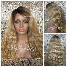 Honey Blonde Lace Front Wig Long Wavy Dark Roots Side Part Heat Safe Ok