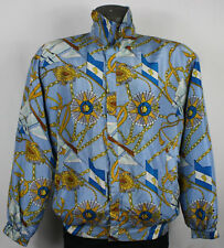 80s 90s Vintage Baroque Nautical Rope Chains All Over Print Silk Bomber Jacket
