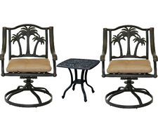 3 piece bistro patio set Palm Tree cast aluminum outdoor end table Bronze chairs