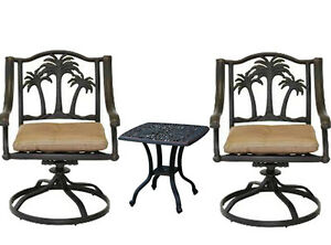 3 piece bistro patio set Palm Tree cast aluminum outdoor end table Bronze chairs