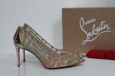 New sz 7.5 / 37.5 Christian Louboutin Glitter Lace 554 Blush Heel Pump Shoes
