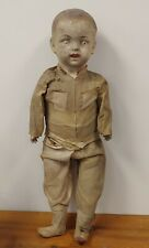 """Large Antique composition doll boy in military outfit 32"""" Tall - Well Worn"""