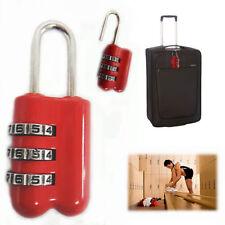 3 dígitos combinación candado Rojo Seguro Seguro Locker Equipaje Maleta Fackelmann