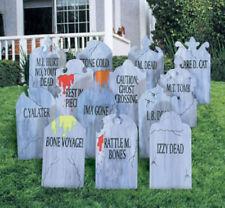 "NEW Halloween Lawn Art Holiday Decoration - ""Graveyard Head Stones""  Set of 13!"