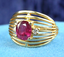 1.00 CARAT  RUBY & DIAMOND RING - 14 kt GOLD