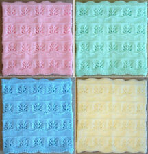 NEW Handmade Knit Crochet BABY Afghan Blanket Infant Throw Floral Pattern #2