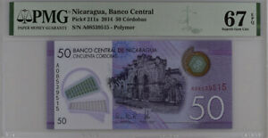 Nicaragua 50 Cordobas 2014 P 211 a Polymer Superb Gem UNC PMG 67 EPQ High