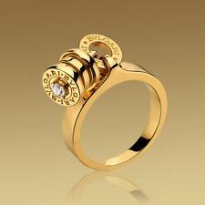 BULGARI B.zero1 18K Gold Dangling Barrel Charm Diamond Ring EU 49 / US 5