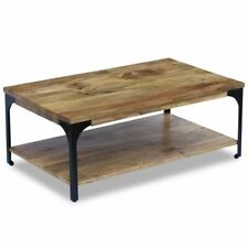 vidaXL Mango Wood Side Coffee Table Shelf Steel Frame Living Room Industrial