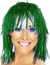 Metallic Green Bob Tinsel Wig Cheerleader Space Disco Halloween Fancy Dress
