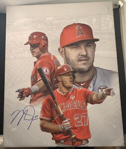 Mike Trout Signed 16x20 Custom Canvas BAS COA LOA Autograph #A40425 LA Angels