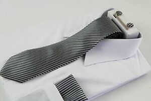 Mens Gunmetal & Silver Striped Matching Neck Tie, Pocket Square, Cuff Links and