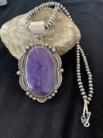 Mens Native Navajo Sterling Silver Sugilite Necklace Purple CHAROITE Pendant 219