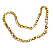 """Vintage 14k Solid Yellow Gold Curb Link Chain Necklace 24.6g 17"""" Long Tested 6mm"""