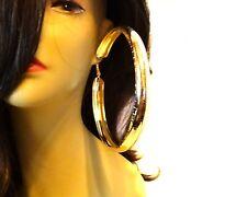LARGE HOOP EARRINGS THICK SHINY SILVER OR GOLD TONE 4.75 INCH HOOP EARRINGS