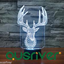 Premium Christmas Reindeer Design 3D Illusion Lamp LED Night Light Penzance 3192