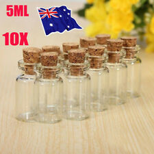 10 xClear Mini Small Cork Stopper Tiny Glass Vial Jars Containers Bottle Bulk EA