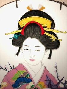 JAPANESE GEISHA-VINTAGE PLATE-MADE IN JAPAN-HAND PAINTED-SIGNED-SAKURA FLOWERS