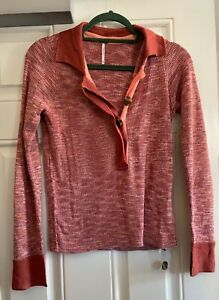 Free People Button Up Collared Pullover Top Knit Jumper Coral Pink M UK 10 New