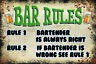 Bar Rules Blechschild Schild gewölbt Metal Tin Sign 20 x 30 cm CC1065